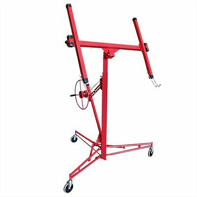 Drywall 11' Lift Panel Hoist Dry Wall Jack Lifter Construction Tools, Large, Red