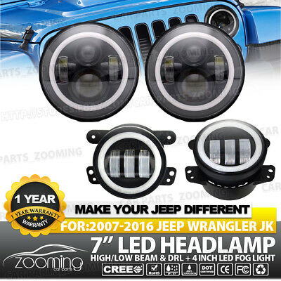 """7"""" 80W Angel Eyes Round LED Headlights Halo With Fog Light Combo For 07-17 Jeep"""