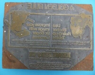 Vintage GOLDEN RULE Letterpress Ink Advertising Metal Printing Block Press Rare
