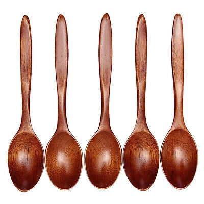 5pcs Bamboo Wooden Spoon Kitchen Cooking Utensils Soup Teaspoon Catering Tools