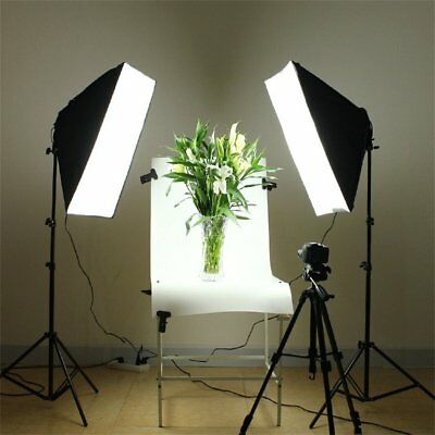 Photography Softbox Continuous Lighting System with 4 Lamp Socket&Support MN
