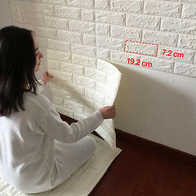 5× 3D Effect Stone Brick Textured Vinyl Waterproof Wallpaper Self-adhesive Lot