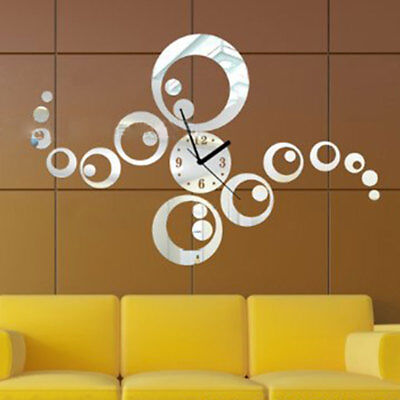 Fashion 3D Mirror Effect Silver Wall Stickers Watch Clock Circle Home Decoration