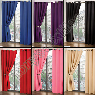 CALI - Thermal Blackout Curtain Panels with Grommet Eyelets - Assorted - Pair