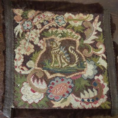 GORGEOUS FRENCH 1800 NEEDLEWORK PILLOW FRONT HELLHOUND 15x15""