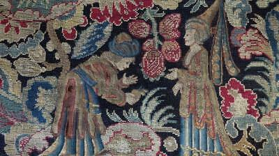GORGEOUS FRENCH 1800 NEEDLEWORK PANEL MEDIAVAL SCENE PARTLY PETIT POINT  28x24""