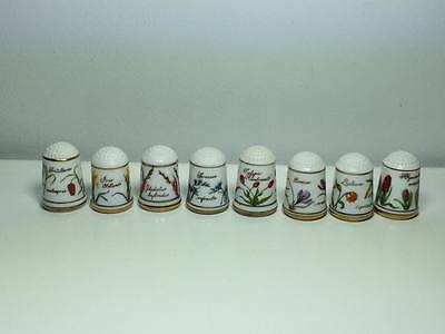 Vintage lot of 8 Franklin Mint  porcelain  floral thimbles