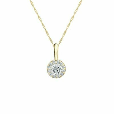 14K Yellow Gold Halo Round-Cut Diamond Solitaire Pendant 1/4ct H-I, I2 w/Chain