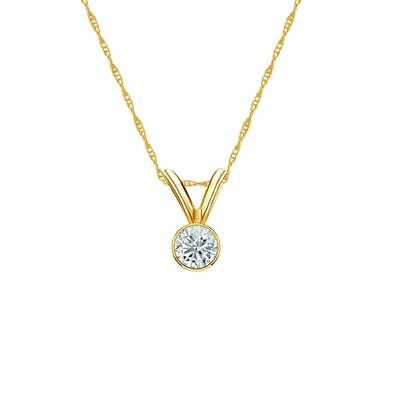 14K Yellow Gold Bezel Round-Cut Diamond Solitaire Pendant 1/8ct H-I, I2 w/Chain