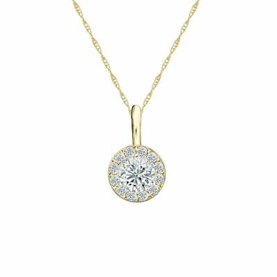 14K Yellow Gold Halo Round-Cut Diamond Solitaire Pendant 1/3ct H-I, I2 w/Chain