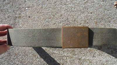 West German 1960's-1970's OD Green Canvas Equipment Belt with Pebbled Finish