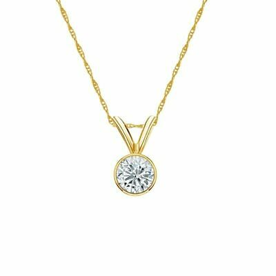 14K Yellow Gold Bezel Round-Cut Diamond Solitaire Pendant 1/4ct H-I, I2 w/Chain