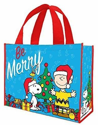 Charlie Brown Snoopy Peanuts BE MERRY Large Christmas Tote Bag 12'' x 16'' NEW