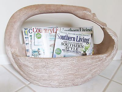 """Rare Large 24"""" Hand Carved Wood Swan Basket Caddy Tote Floral Magazine Sewing"""