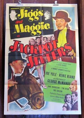 1949 JIGGS and MAGGIE in JACKPOT JITTERS One-Sheet Movie Poster GEORGE McMANUS