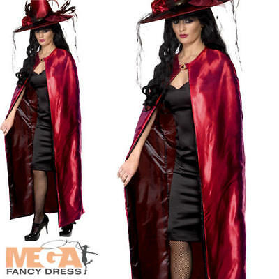 Red & Black Reversible Cape Ladies Fancy Dress Halloween Adults Costume Cloak