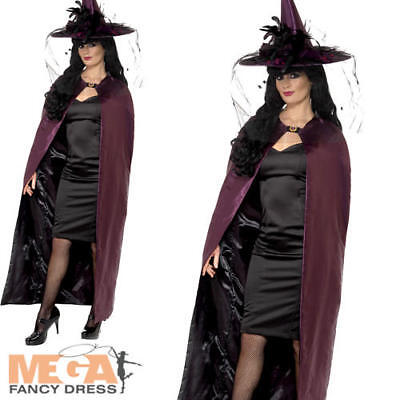 Purple & Black Reversible Cape Ladies Fancy Dress Halloween Adults Costume Cloak