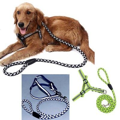 Reflective Nylon Dog Pet Puppy Harness Safety Leash Step-in Outdoor Collar S M L