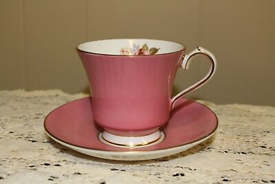 AYNSLEY PINK WITH PINK ROSE TEACUP & SAUCER - fine bone china