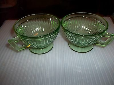 Vintage - Vaseline/uranium - Ribbed Tea Cups - Optic Lines