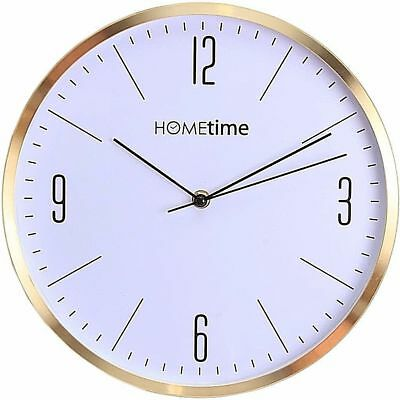 Hometime White Dial Gold Brushed Effect Case Wall Clock W7324