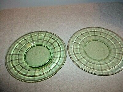 Vintage - Vaseline Glass - Block Optic Pattern - (3) Bread Plates