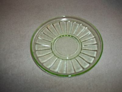 Vintage - Vaseline Glass - Block Pattern - Cup Saucer With Ring
