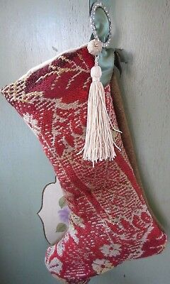 Antique 1800s Red Coverlet Christmas Stocking Woven Wool Lined Tassel Rhinestone