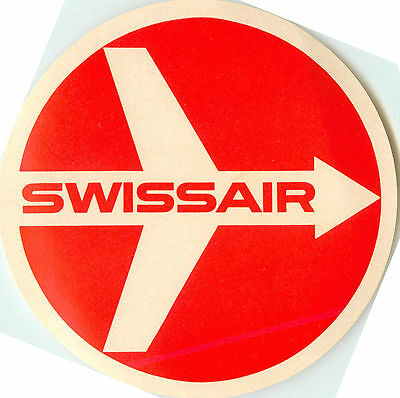 SWISSAIR - Classic Old Airline Luggage Label with Original Logo, c. 1955  MINT