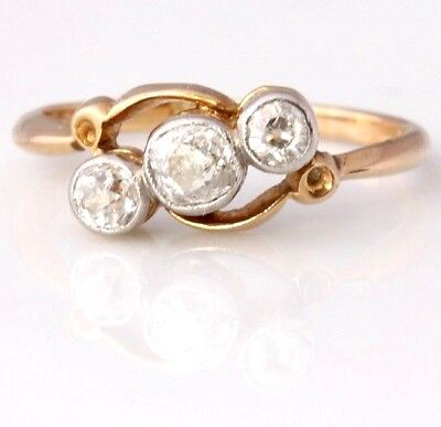 8fab193864ebed Antique 18ct Gold Old Cut Natural Diamond Three 3 Stone Crossover Ring. 0.35 ct K
