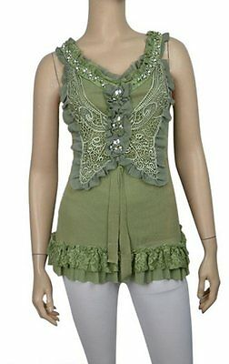 Pretty Angel Vintage Victorian Style Butterfly Tank Lace Jewels