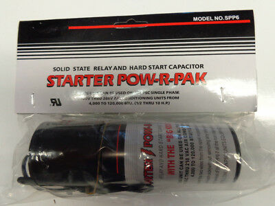 SPP6 Hard Start Kit Capacitor Relay 1/2HP-10HP Increases Torque 500% Pow-R-Pak