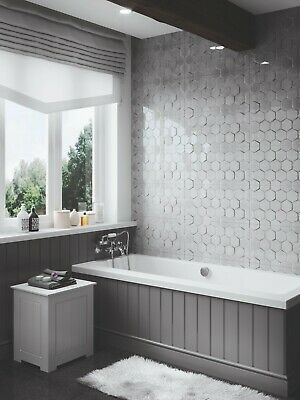 Sample 3d Hexagon Ceramic High Gloss Cement Grey 60x30 Wall Tiles 17 99 M2