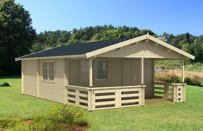 DIY 18ft x 27ft 300 sq ft 3 room Log Cabin Kit with 108 sq ft covered porch