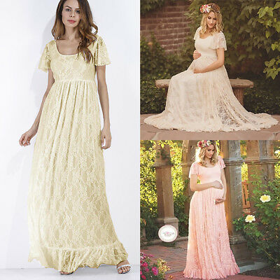 6b4a5ff5667 Pregnant Women Maternity Photography Props Lace Loose Evening Party Long  Dresses