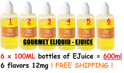 LiQuide 6 X 100ml 12mg 600mls cheap ejuice mod vape juice e liquid e cig juice