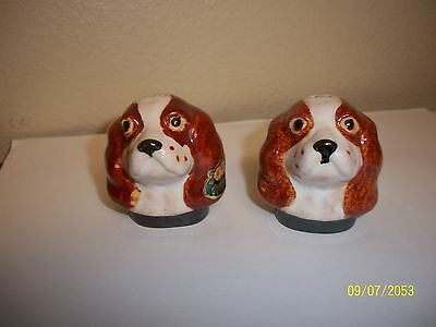 Rosemeade English Toy Spaniel Dog Head Salt And Pepper Shakers