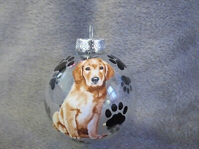"Hand Made Golden Retriever Dog 3"" Glass Christmas Ornament/ball"