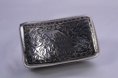 Antique Edwardian Sterling Silver Snuff Box 1907
