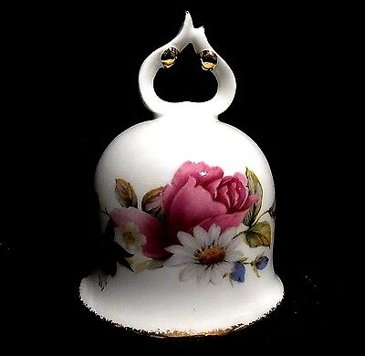 "SALE! Porcelain Bell Fine Bone China Collectible Summer Rose 4"" Gold"