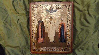 Antique Russian Icon  Angel Guard And Two Saints