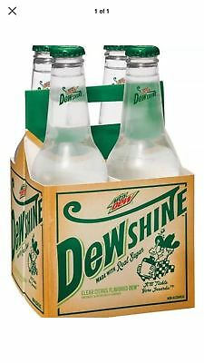 Mountain Dew Dewshine 4 Rare Unopened Glass Bottles W/carton Cane Sugar Drink