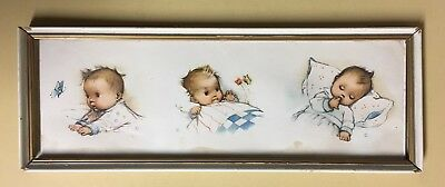 Beautiful Vintage Antique Framed Baby Print, Playtime & Bedtime, Holland