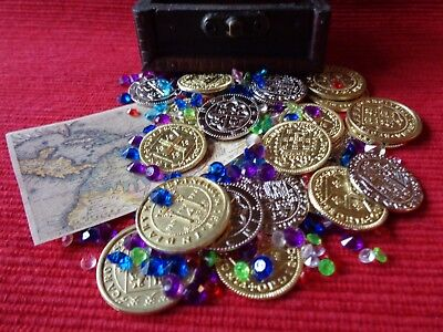 Caribbean Pirate Assortment with 30 Metal Coins, Chest, Gems, and More!
