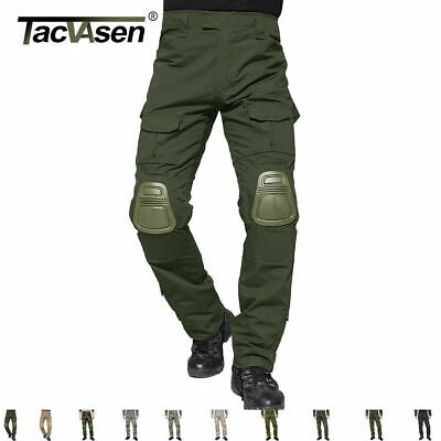 TACVASEN Mens Tactical Army Combat Pants Military Camouflage Trouser W/ Knee Pad