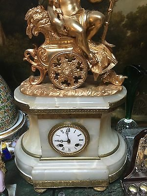 19th Century French Clock Mantle Gold Plate Bronze Base Onyx Original Movement