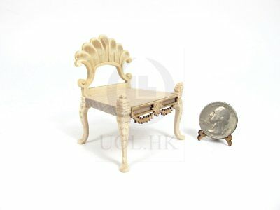 Wooden Miniature 1:12 Scale Wooden Scallop Chair For Doll House [Unfinished]