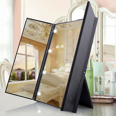 Tri-Fold Shining Vanity Makeup Mirrors with LED Light Portable Travel Mirrors