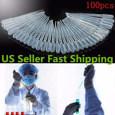 100Pcs 3ml Plastic Eye Dropper Disposable Graduated Transfer Oils Pipettes Set