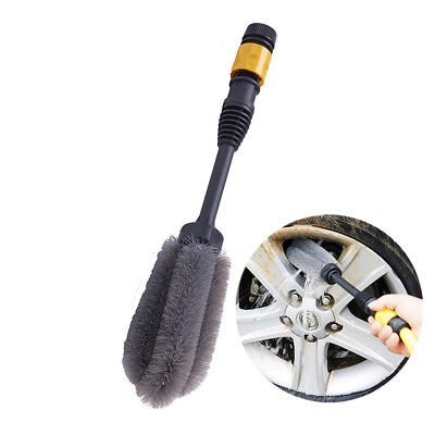 1X Water Power Car Wash Washing Brush Auto Spray Wheel Rim Cleaning Foam Plush